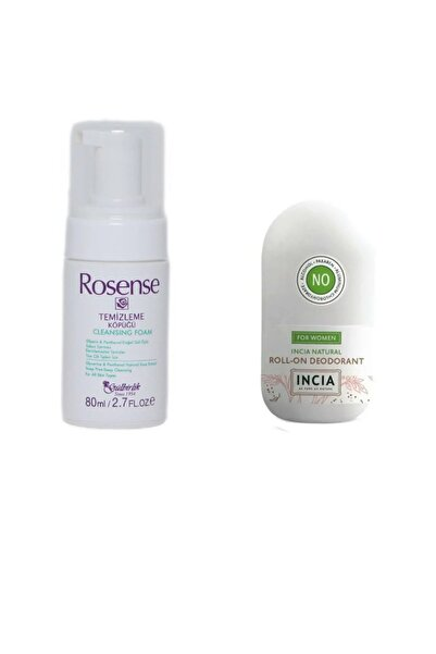 Incia Doğal Roll-on Deodorant Kadınlar Için 50 Ml + Rosense Temizleme Köpüğü 80 Ml