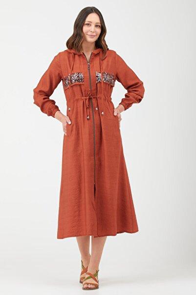Sementa Kadın Kiremit Pul Işlemeli Uzun Boy Kadın Tunik