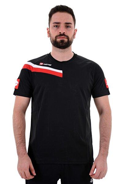 Lotto T-shirt Erkek Siyah/kırmızı-trona Tee Pl-r5852