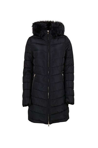 Only Siyah Kadın Montu 15183994-black Onlellan Quilted Hood Fur Coat Otw