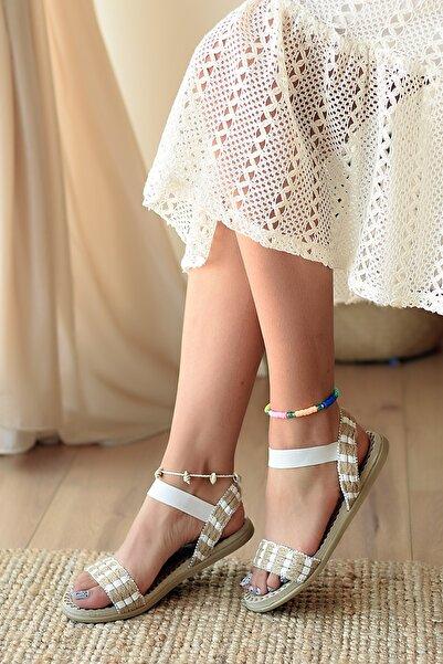 Pembe Potin Kadın Beyaz Düz Sandalet