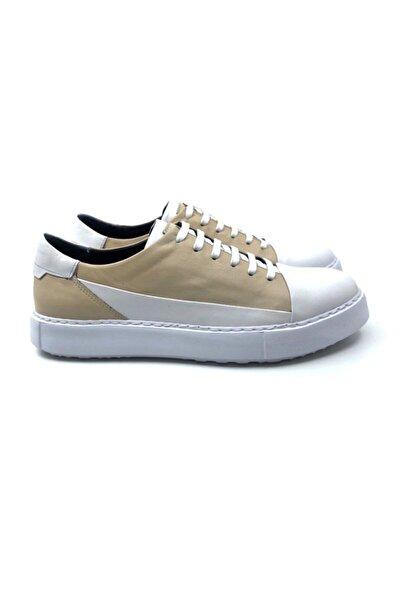 TETRİ Erkek Beyaz Bej Hakiki Deri Sneaker Ayakkabı
