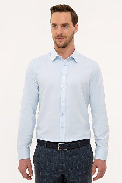 Pierre Cardin Erkek Açık Mavi Slim Fit Armürlü Gömlek