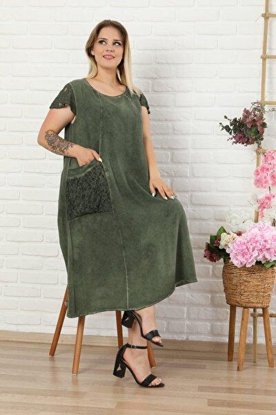 LİKRA Kadın Haki Yeşil Büyük Beden Kolu Cebi Güpür Detay Lı Yıkamalı Viskon Elbise
