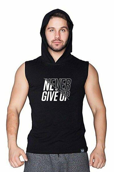Erkek Siyah  Kapüşonlu Kolsuz T-shirt