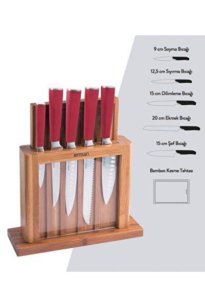 Matriks 7 Parça Sandık Kesme Tah Bıçak Seti Kırmızı