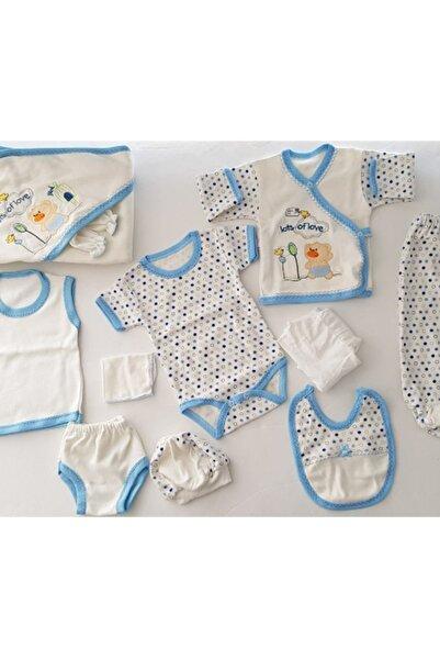 Bebek Mavi Ayıcık Nakışlı 11 Parça Hastane Çıkışı Seti