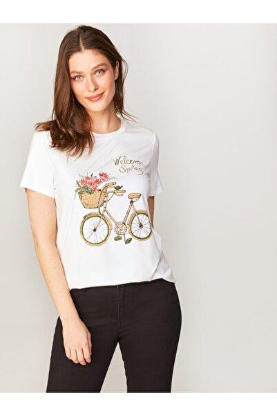Faik Sönmez Kadın Ekru Baskılı T-shirt 60676