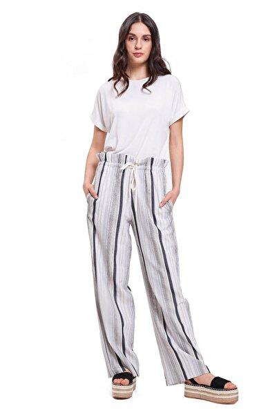 Mizalle Çizgili Keten Pantolon (Gri)