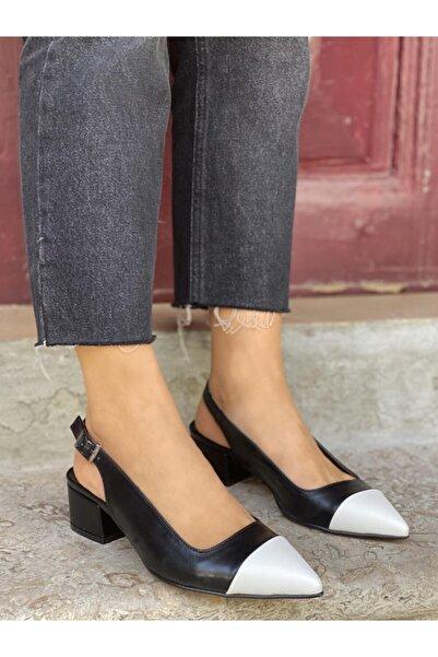 STRASWANS Kadın Siyah-Beyaz Topuklu Ayakkabı- Leila