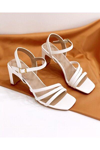 STRASWANS Kadın Beyaz Brian Topuklu Deri Sandalet