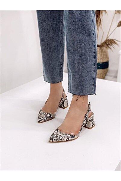STRASWANS Kadın Bej Yılan Deri Topuklu Ayakkabı