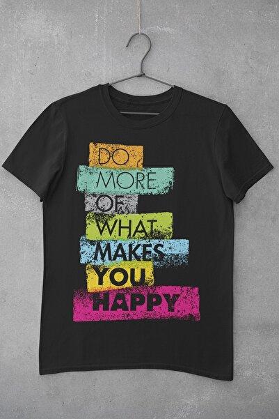 Tshigo Kadın Siyah Do What You Makes Happy Baskılı T-shirt