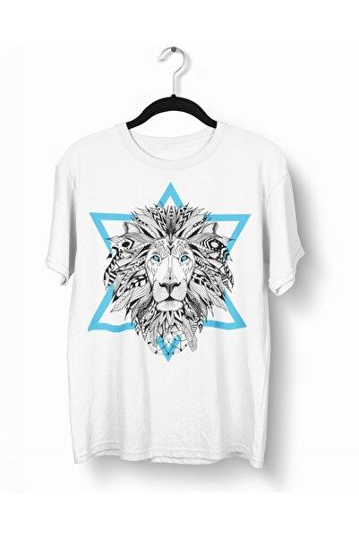 Tshigo Erkek Beyaz Triangle Lion Mavi Baskılı T-shirt