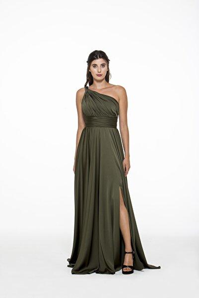 MAXXE Kadın Haki Helen Tek Omuz Saten Elbise 4923ST