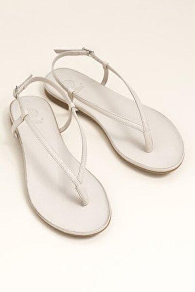 MANISHA Hakiki Deri Kemik Rengi Kadın Sandalet