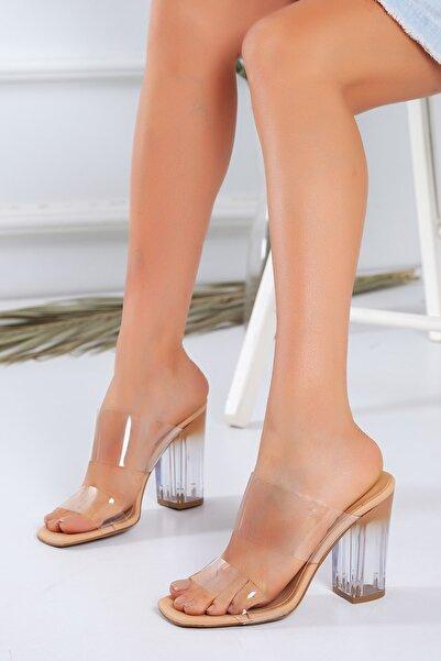 Kadın Nude Şeffaf Topuklu Sandalet