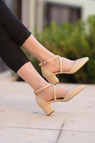 Oksit Florin Mel Çapraz Bağlı Topuklu Ayakkabı