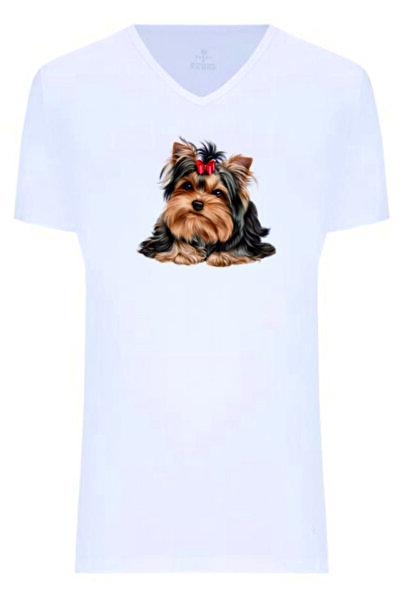 Dolce Unisex Fiyonklu Köpek Baskılı Tişört