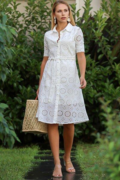 Kadın Beyaz Vintage Gömlek Yaka Düğme Detaylı Astarlı Elbise M10160000El96484