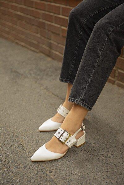 STRASWANS Kadın Beyaz Amelia Deri Topuklu Ayakkabı