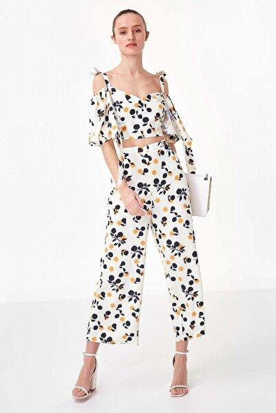 Twist Kadın Ekru Çiçek Desen Pantolon TS1200003136082