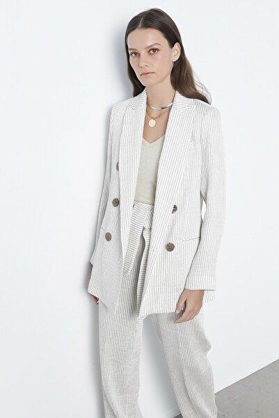 İpekyol Kadın Bej Çizgili Ceket IS1200005139003