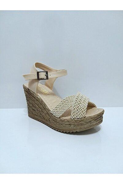 Osse Kadın Bej Dolgu Ökçe Sandalet