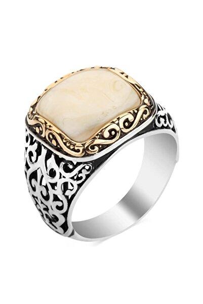 Anı Yüzük Dörtgen Beyaz Sedef Taşlı 925 Ayar Gümüş Yüzük