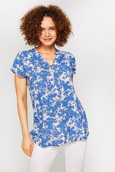 Faik Sönmez Kadın Saks Sim Desenli Fermuar Yakalı Bluz 60681 u60681