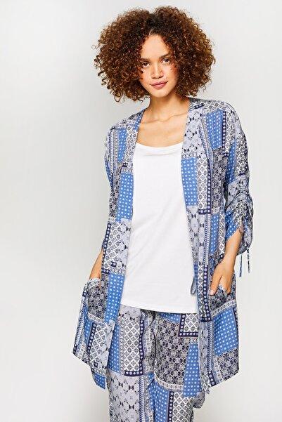 Faik Sönmez Kadın Mavi Patchwork Desenli Kimono 60515 U60515