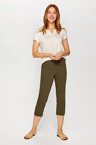 Faik Sönmez Kadın Koyu Haki Slim Fit Klasik Capri 60061 U60061