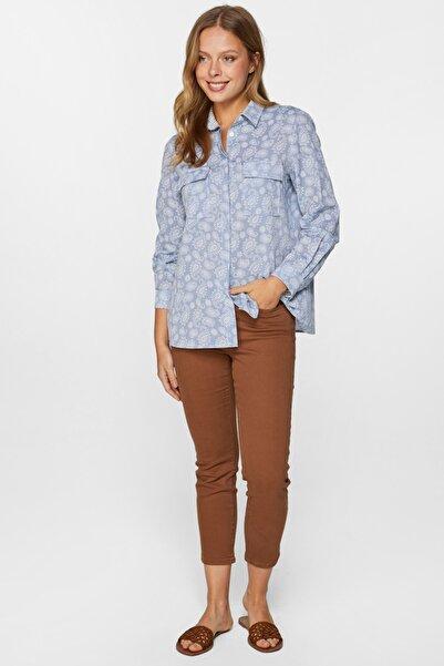 Faik Sönmez Kadın Mavi Şal Desenli Gömlek 60356 U60356