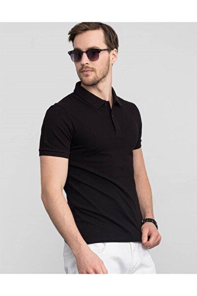 Tudors Erkek Siyah Slim Fit Polo Yaka T-shirt