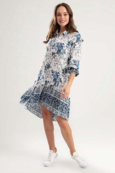 Y-London Kadın Mavi Bileği Lastikli Çiçekli Elbise Y20S110-1960