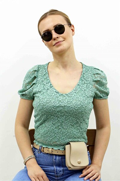 Madmext Mad Girls Yeşil Dantelli Bluz MG394
