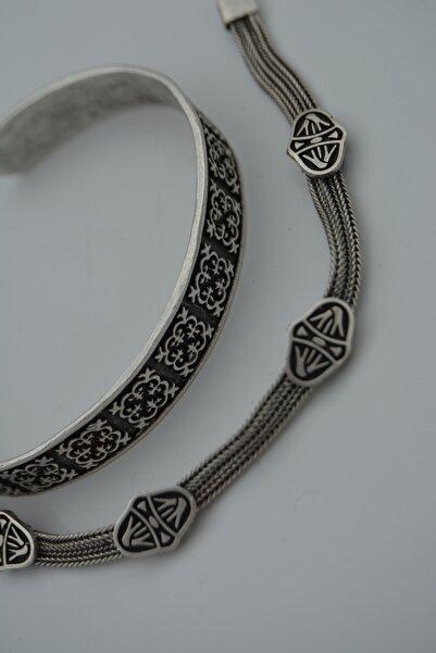 Stoneage Bohem Ikili Bileklik Antik Gümüş
