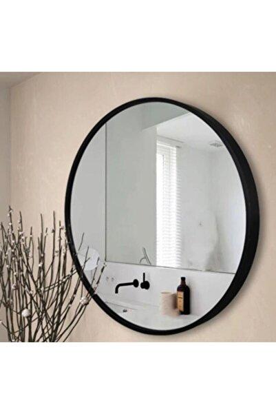 SPECCHIO Nehir 60 Cm'lik Siyah Renk Yuvarlak Ayna,dekoratif Ayna