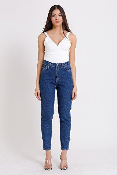 Yüksek Bel Jeans Koyu Mavi Denim Kot 2054