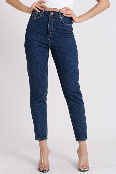 Kadın Koyu Mavi Yüksek Bel Jeans Denim Kot 2055