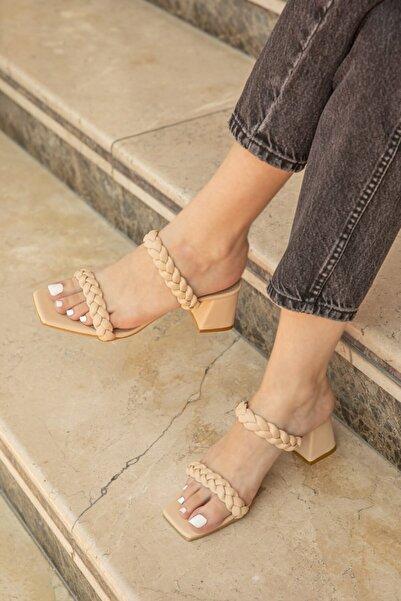 STRASWANS Kadın  Örgü Detay Topuklu Sandalet Ten