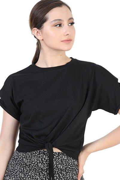 YOYOSO Kadın Siyah Önü Bağlamalı Vatkalı Bluz