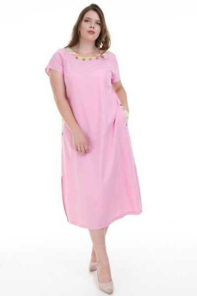 Moday Pembe Sırt Detaylı Elbise F1-1136