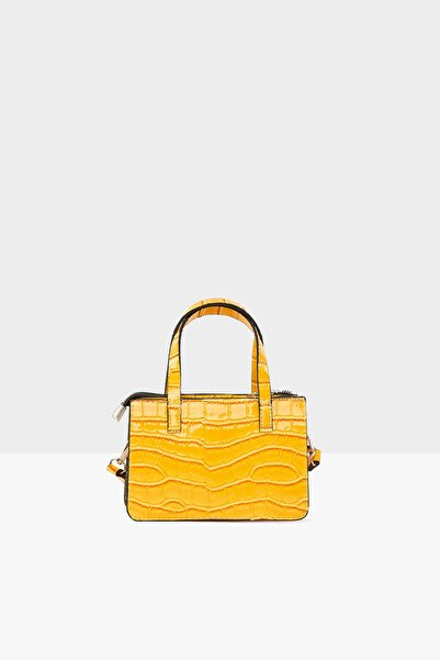 Bagmori Sarı Kadın Parlak Kroko Mini Tasarım Çanta M000004777