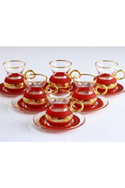 AbkaKristal Paşabahçe Organik Boya Versage Bordo Gold Dekor Cam Çay Tabaklı Kulplu Çay Seti 6 Kişilik 12 Parça
