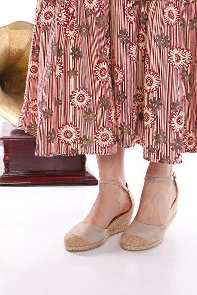 Nizar Deniz Bury Ten Süet Espardil 5cm Kalın Topuklu Hazıralt Bayan Günlük Ayakkabı