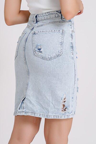 Kadın Açık Mavi Yüksek Bel Jean Kısa Kot Etek 3004