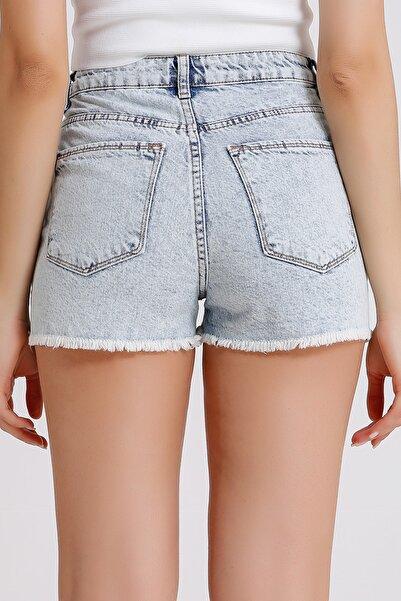 Kadın Açık Mavi Yüksek Bel Denim Jeans Mini Şort  3008