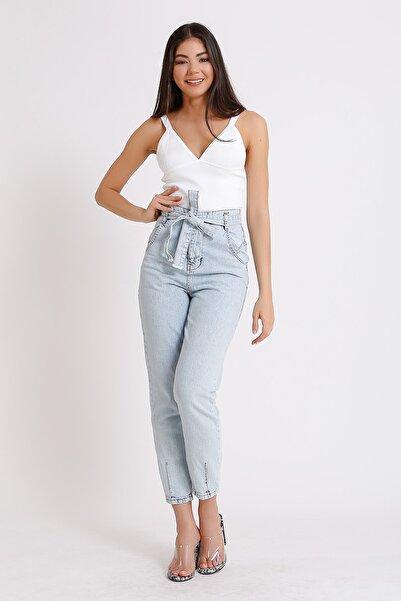 Kadın Açık Mavi Yüksek Bel Kuşaklı Denim Jeans Kot 2071