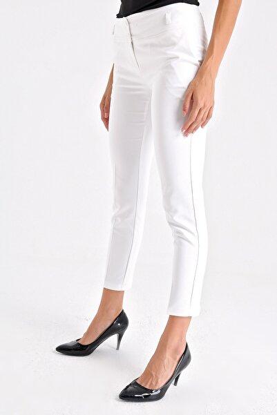 Yüksek Bel Kalın Kemerli Cepli Bilek Boy Ofis Pantolon-beyaz
